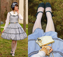 Tyler H - Lotvdesigns Sailor Beret, Lotvdesigns Sailor Jsk, Handmade Mermaid Brooch, Ebay Scallop Shell Belt, Vintage Beaded Shell Purse, Ebay Seahorse Keychain, Ebay Shell Bracelet, Thrifted White Ruffle Blouse, Ebay White Lace Stockings, Miz Mooz Blue Heels - Nautical Niceties