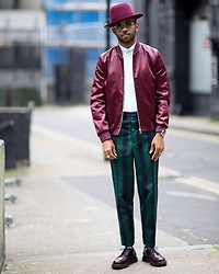 Martell Campbell - D'lyle Treasure Wine Hat, Paul Smith Red Bomber Jacket, Ami Paris Stripe Shirt, Ami Paris Stripe Trousers, Church's Derby Shoes - Summer LCM Look