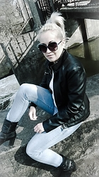 MagneticEyes Kolbusz - Vero Moda Jacket, H&M Jeans - Black leather
