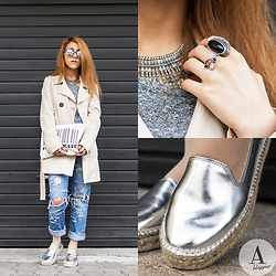 Diana Manolova - Zara Espadrilles, Bershka Ripped Girlfriend Jeans, Stradivarius Trench Coat, Zara Sweater, H&M Necklace, H&M Rings, Pimkie Sunglasses, Zara Fashioncode Clutch - Silver Spring