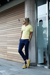 INWON LEE - Byther Yellow V Neck Short Sleeve T Shirts, Byther Navy Color Slacks Trouser - Getting warm these days