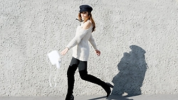 FASHION MOODS - Stylemoi Cutout Jnitted Jumper, Publicdesire Kalena Over The Knee Velvet Boots, Zara White Handbag, Vintage Sailor Cap - HELLO SAILOR