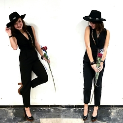 Thyrza - Invito Heels, H&M Jumpsuit, Forever 21 Hat - The Black Jumpsuit and the Red Rose