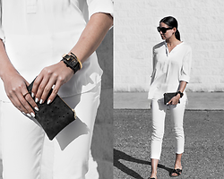 Kristina - Makko Gold Cuff, Fjord Black Mesh Timepiece, Nois Coin Purse, Fabrizio Gianni Crop Pant, Clarks Gold Buckle Slides - The golden years