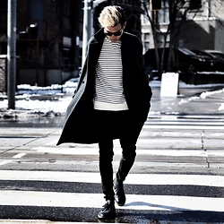 Alexander Liang - Topman Coat, Nautica Sweatshirt, Cos Jeans, Clarks Shoes - Stripes