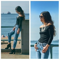 Maria P - Stradivarius Round Sunglasses, Sheinside Black Off The Shoulder Top, Topshop Boyfriend Jeans, Joie Black Suede Fringe Booties, Aliexpress Silver Coin Necklace - Down by the bay