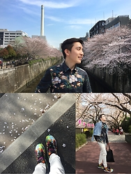 Enrique Sun - H&M Floral Shirt, Cheap Monday Denim, Adidas Floral Print Zx Flux, Issey Miyake Baobao - Spring celebration in Tokyo