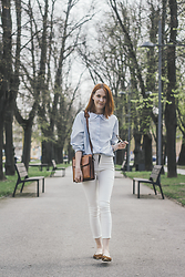 Dominika Cupkova - White Pants, French Toast Shirt, Sheinside Leopard Balerinas - Leopard shoes