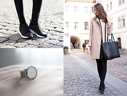 Lorietta.cz - Zara Faux Leather Sneakers, Cluse Silver Watch, Zara Camel Coat, Mango Faux Leather Black Minimal Bag - Black and white sneakers