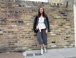 Lauren Rose Bell - Bershka Striped Culottes, Asos Boots, Miss Selfridge Leather Jacket, Topshop Saddle Bag, River Island Tie Side White Blouse - Spring Stripes