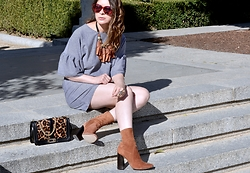 Fashionlingual, Desirée - Zara Booties, Zara Dress, Zara Necklace, Rebecca Minkoff Bag, Le Specs Sunglasses - Frilly Dress & Brown Suede