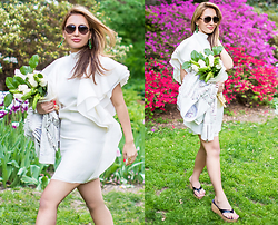 The Ambitionista - Gucci White Dress, Acne Studios Leather Jacket, Jimmy Choo Sandals, Chloé Sunnies - Spring Essence