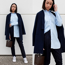 Esther L. - Wholesalebuying Trench Coat, H&M Oversized Shirt, Missguided Pinstripe Trousers, Zara Mini Bag, Adidas Superstar - CLASSY BUT SPORTY