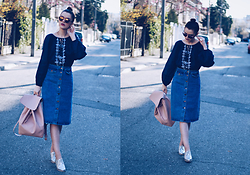 Andreea Birsan - Lucky Brand Embroidered Blouse, Christian Dior So Real Sunglasses, Zara Denim Midi Skirt, Zara Pink Backpack, Silver Leather Shoes - Midi denim skirt & embroidered shirt II