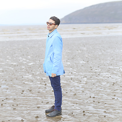 Ronan Summers - Gloverall Baby Blue Car Coat, Ted Baker Navy Chinos, Ted Baker Bisaan Rubber Brogues - Waiting for Summer