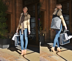 TheBerlindreamer - Guess Leather Jacket, Levi's® Blue Jeans, Gucci Scarf, Prada Bag - Neutrals at Berlin