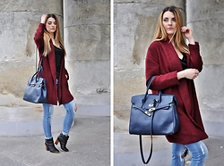 Angelika Rachocka -  - Marsala Coat and Ripped Jeans
