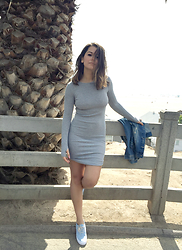 Madaby Mada - H&M Grey Rib Dress, Vans Chambray Authentic Slim In Blue/True White - Vitamin D