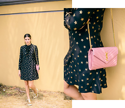 Maristella Gonzalez - Saint Laurent Pink Monogram Bag, Saint Laurent Gold Star Embroidered Dress, Zara Gold Metallic Oxfords - Gold Star