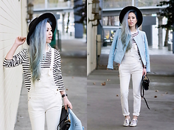 Aika Y - Forever 21 Black Fedora, Zara Pastel Blue Biker Jacket, Free People White Washed Denim Overall, Calvin Klein Silver Oxford Shoes, Sheinside Striped Top, Forever 21 Black Faux Leather Bag - White Denim Overall