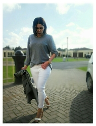 Tneale Williams - Country Road Grey Sweater, H&M White Jeans, Mr P Sandals - Sons of maria.