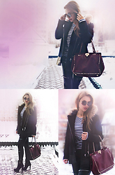 Anna Razumovskaya - Valentino Bag, Zara Leather Pants, Sandro Coat, Stradivarius Sunglasses - The last snow