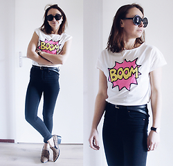 Magna G. - Pink Sequin T Shirt - * Boom * pink sequins for Spring