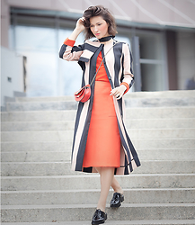 Galant-Girl Ellena - Park Lane Flat Mules, Asos White Trench Coat - Striped Trench Coat