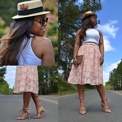 Christian Riley - H&M Rosette Skirt, H&M Crop Top, Aldo Strap Up Heels, Tory Burch Tortoise Shades - Regal Callings