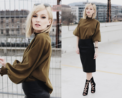 Chloe From The Woods - Sheinside Army Green Frill Neck Loose Crop Blouse, Sheinside Black Bodycon Split Leather Skirt, Amiclubwear Black Lace Up Shoes - EARTH TONES