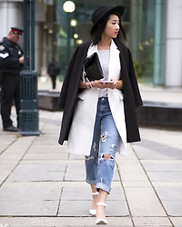 Jeannie Y - Zara Long Blazer Vest, Zara Boyfriend Jeans, Topshop Shimmer Tank, H&M Hat - To the Left