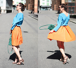Lea Zeitman - Sonia Rykiel Blouse, Red Valentino Skirt, Fendi Bag, Navyboot Sandals, C&A Sunglasses - BRIGHT COLORS