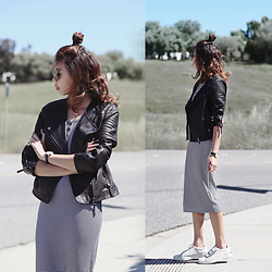 Amelyn B - Topshop Leather Jacket, Old Navy Ribbed Midi Dress, Aldo Sneakers - GRADIENT