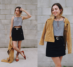 Isabella Wight - Thrifted Jacket, We Are Cow Top, Free People Skirt - GOLDEN CHILD
