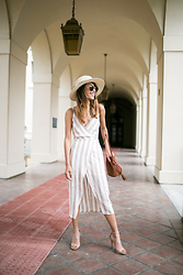 Indah Amelia - Astr Linen Stripe Dress, Bp Mini Bucket Bag, Bp Straw Hat, Steve Madden Nude Heels - Linen Dress