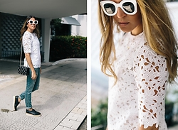 Maristella Gonzalez - Kate Spade White Lace Top, Céline White Oversized Sunglasses, Saint Laurent Distressed Jeans, Asos Brogues, Kate Spade Grid Quilted Shoulder Bag - Lace Top With Distressed Jeans
