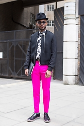 Martell Campbell - Paul Smith Mesh Bomber, Paul Smith Floral Print Shirt, Paul Smith Tailored Trousers, Paul Smith The Grand Brogues - Fuchsia