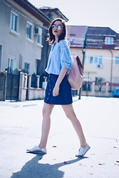 Andreea Birsan - Christian Dior So Real Sunglasses, New Yorker Striped Shirt, Stradivarius Denim Button Front Skirt, Silver Shoes, Zara Blush Pink Backpack - Denim button front skirt & striped shirt II