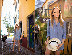 Silver Girl - The White Company Panama Hat, Massimo Dutti Striped Shirt Dress, Current/Elliott White Denim Shorts, Valentino Roman Sandals, Fat Face Leather Backpack - MADEIRA ISLAND