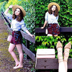 The Indie Girl Fleming - Ralph Lauren Denim Button Down Blouse, Louise Et Cie Abri Flats, Topshop Vintage Shorts, Kate Spade Cedar Street Purse - Look 1: #UltimateVegasStyle