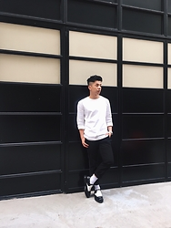 Andy Lin - Balenciaga Pants, Cos Top, Versace Shoes - Black and white