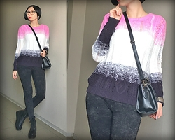 Jane V.I. - Gradient Color Sweater, Mini Bag, Platform Boots With Rivets, Slim Grey Jeans - Gradient color sweater and pink lipstick