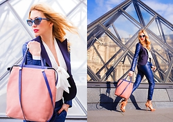 Eleonora Albrecht - Aurora Prestige Pink Bag, Ventifive Livia Jacket, Ventifive Fatima Pants, Ventifive Milena Shirt - Pink and blue leather outfit