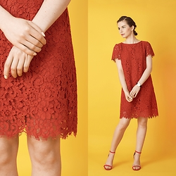 Paulina Rudnicka -  - Red lace dress