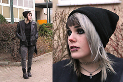 INNER RIOT † - H&M Beanie, Asos Crystal & Cross Necklace, H&M Basic Black Shirt, H&M Black Acid Washed Zipper, H&M Oversized Vegan Leather Jacket, New Yorker Black Acid Washed Moto Jeans, Unif Trench Boot - All Black Everything