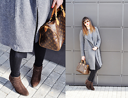 Kate Karpina - Zara Coat, Louis Vuitton Bag, Mango Boots, Mango Jeans, Zara Top - Gray coat