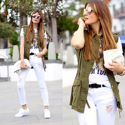 Marianela Yanes - Guess Sunglasses, Zara Tshirt, Pull & Bear Jeans, Adidas Sneakers - ALL WHITE