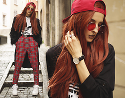 Gina Vadana - Gypsy Warrior Jacket, Love Too True Pants, Powder Room D Wig, Zero Uv Sunnies, Daniel Wellington Watch - REDish
