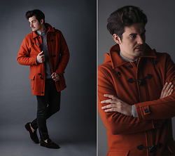 David Infante - Coat, Trousers, Shoes, Sweater, Shirt - Orange boom