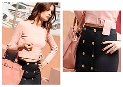 FASHION MOODS - Lucy Paris Rose Jumper With Belt, Vintage Pleated Skirt With Gold Buttons - ROSE